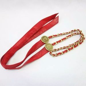 Chanel Red Lamb skin Leather chain C107 belt
